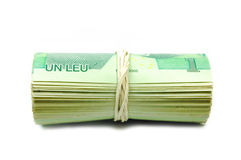 Money roll. Isolated on white Royalty Free Stock Photography