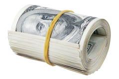 Money roll. Roll of bills, roll of dollar bills Stock Image