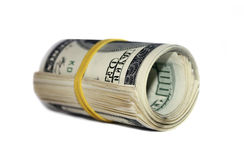 Money roll. US dollar money roll on white background Stock Photo