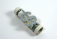 Money Roll. Photo of Money Roll and Large Dollar Symbol Royalty Free Stock Photography