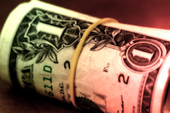 Money Roll. With Color and Blur Effect Royalty Free Stock Image