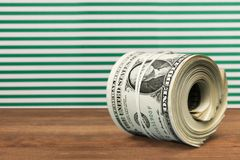 Money Roll. Bundle Currency Excess Wealth Paper Currency Rolled Up Royalty Free Stock Photo