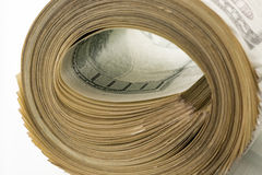 Money roll dollars isolated on the white background.  Royalty Free Stock Photo