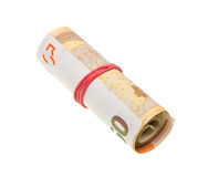 Money roll with euro bills isolated on white. Background Royalty Free Stock Photo