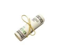 Money roll gift stock image