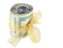 Money Roll Tied with Gold Ribbon. Money roll tied with ribbon isolated on white background Royalty Free Illustration