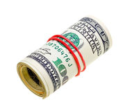 Money roll with US dollars bills isolated on white. Backgroun Royalty Free Stock Images
