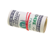 Money roll with US dollars bills isolated on white. Backgroun Royalty Free Stock Image