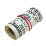 Money roll with US dollars bills isolated on white Stock Photo