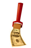 Money Roller. S rolling out a one hundred dollar bill stock illustration