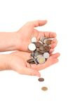 Money rolling in from the hands of. Royalty Free Stock Photo