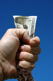 Money and root. Hand holding money and roots royalty free stock photography