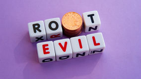 Money root of evil Stock Image