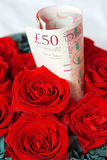 Money and rose Royalty Free Stock Images