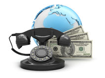 Money and rotary phone Royalty Free Stock Photos