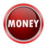 Money round metallic red button. Vector icon Stock Image