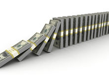 Money row. Financial crisis concept domino effect - isolated on white Stock Image