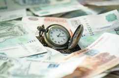 Money ruble time clock. Russian Royalty Free Stock Images