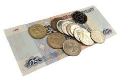 Money rubles on a white background Stock Photo