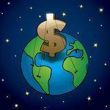 Money rules Earth. A blue planet ruled by a big golden dollar sign. Money rules earth. Ai10 EPS vector illustration, with CMYK global colors Royalty Free Stock Photography
