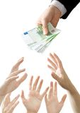 Money rush. The businessmans hand  holds  and gives money Royalty Free Stock Images