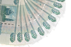 Money of Russia: 1000 roubles banknotes. Over white Royalty Free Stock Photo