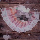 Money Russia. A big pile of money on the wooden floor Stock Images
