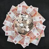 Money Russia black background. A big pile of money on the black background Stock Images