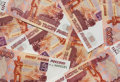 Money Russian banknotes. Dignity five thousand rubles background Stock Images