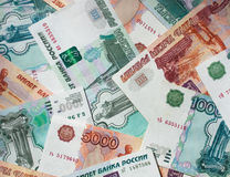 Money Russian banknotes. Dignity five thousand and thousand rubles background Stock Image
