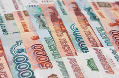 Money Russian banknotes. Dignity five thousand and thousand rubles background Royalty Free Stock Photos