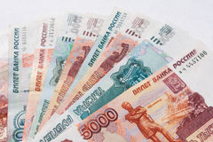Money Russian banknotes. Dignity five thousand and thousand rubles background Stock Photo