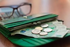 Money, Russian banknotes and coins in the purse stock photos