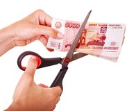 Money Russian rouble. Currency collapse. Royalty Free Stock Photos