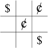 Money X's and O's. The Game X's and O's using dollar signs and cent signs Royalty Free Stock Photography