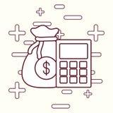 Money sack design. Money sack and calculator over white background, vector illustration Royalty Free Stock Photos