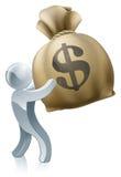 Money sack man. Concept of a silver mascot person holding a big money sack with dollar sign Stock Photos