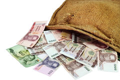 Money in the sack. Thai  money in the sack on  white background Stock Images