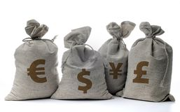 Money sacks on a white Royalty Free Stock Photos