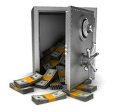 Money in safe. Money in open safe  on white background Royalty Free Stock Photography