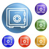 Money safe icons set vector royalty free illustration