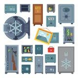 Money safe steel vault door finance business concept safety business box cash secure protection deposit vector Stock Photography