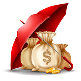 Money safety concept. Bags of money and golden coins under the red umbrella. Concept of money protect. Vector illustration.  on white background Royalty Free Stock Image