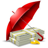 Money safety concept. Packs of dollars and golden coins under the red umbrella. Concept of money protect. Vector illustration.  on white background Royalty Free Stock Photography
