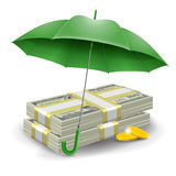 Money safety concept. Two packs of dollars and golden coins under the green umbrella. Concept of money protect. Vector illustration Stock Images