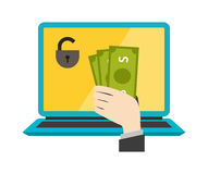 Money safety vector. Internet safety illustration. Royalty Free Stock Image