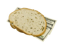 Money sandwiched concept cost of food Royalty Free Stock Photography