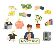 Money save concept money icons for finance banking payment vector illustration. N. Investment symbol buck cash note gold coins pictogram development services Stock Images