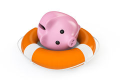 Money Save concept. Piggy bank with the lifebuoy Royalty Free Stock Image