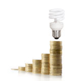 Money saved in different kinds of light bulbs Royalty Free Stock Images